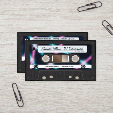 Neon Lights Cassette Tape DJ Music Party 80s Business Card
