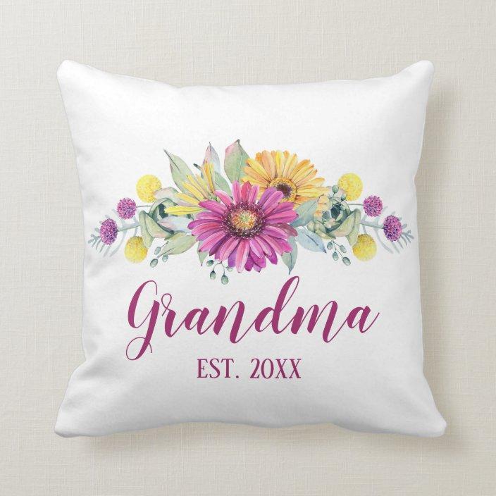 new grandma elegant floral pink yellow daisy throw pillow zazzle com