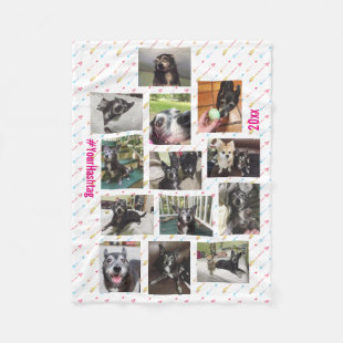 New Pet or Baby Photo Collage Personalized Fleece Blanket