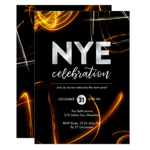 New Years Eve party light sparkler Invitation