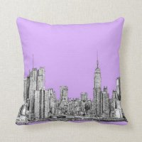 New York city in lilac pink Throw Pillows