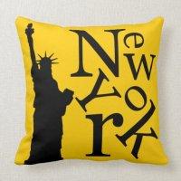 New York City Liberty Black Typography pillow