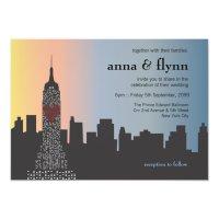 New York City Skyline Cityscape Wedding Invitation   Zazzle