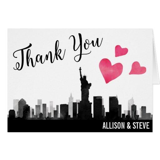 New York City Skyline Wedding Thank You Card Zazzle