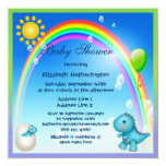 ❤️ Sweet Blue Dinosaurs, Rainbows & Balloons Baby Shower Invitation