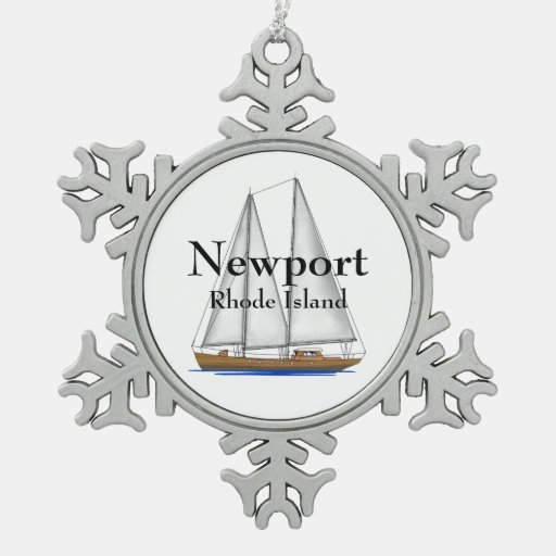Newport Rhode Island Snowflake Pewter Christmas Ornament