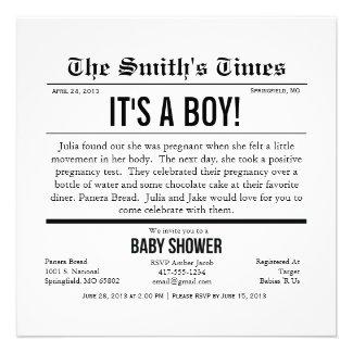 Newspaper Boy/Girl/Unisex Baby Shower Personalized Invitation