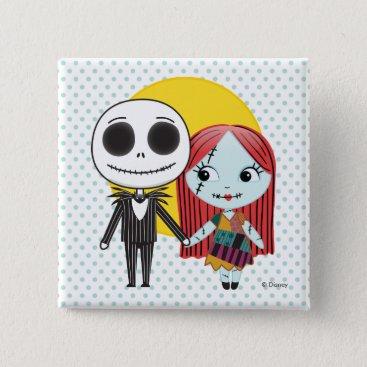 Nightmare Before Christmas   Jack & Sally Emoji Pinback Button