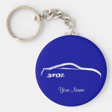 Nissan 350Z White Brush stroke Logo on Blue Keychain