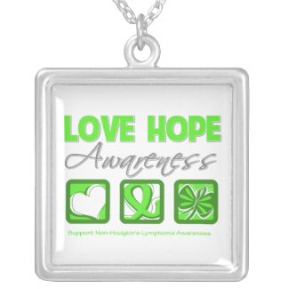 Non-Hodgkin's Lymphoma Love Hope Awareness necklace