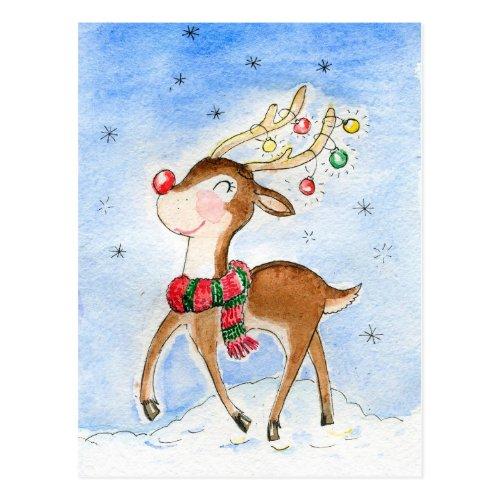 North pole Reindeer Postcard