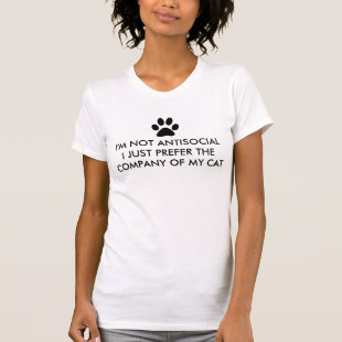 Not Antisocial I Love My Cat Shirt