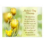 """Pretty Yellow Tulips """"Lord Bless You"""" Mother's Day Postcard"""