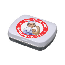 "Nurse ""Rosie"" says ""Healthcare is a Human Right!"" Jelly Belly Candy Tins"
