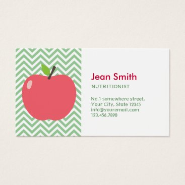 Nutritionist Cute Apple Green Chevron Stripes Business Card