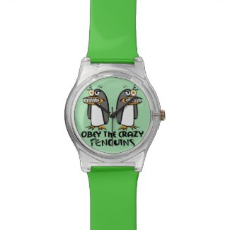 Obey the crazy Penguins Graphic Design Wrist Watch