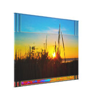 Ocean Sunrise Through Sea Oat and Wooden Fence Canvas Print