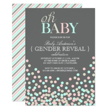 Oh Baby Confetti Gender Reveal Party | Blue Pink Invitation