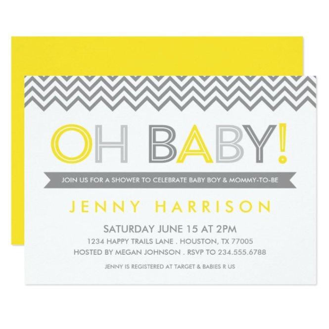Gray And Yellow Baby Shower Invitation