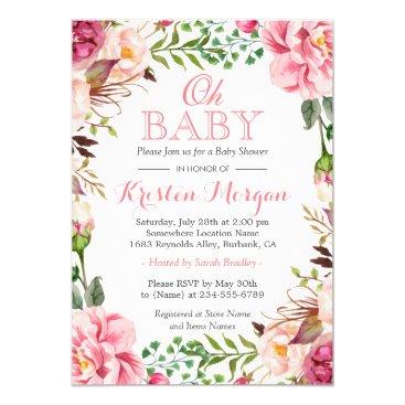 Oh Baby Shower Girly Elegant Chic Pink Flowers Invitation
