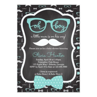 Oh Boy Baby Shower Invitation, Blue, Gray Card
