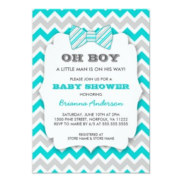 OH BOY Bowtie baby shower / turquoise gray chevron Card