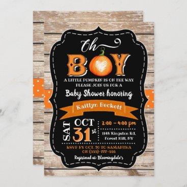 """""""Oh Boy"""" Pumpkin Halloween Baby Shower Invitation"""