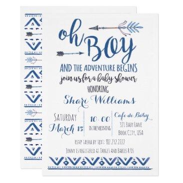 Oh Boy Tribal Baby Shower Invitation -CUSTOM