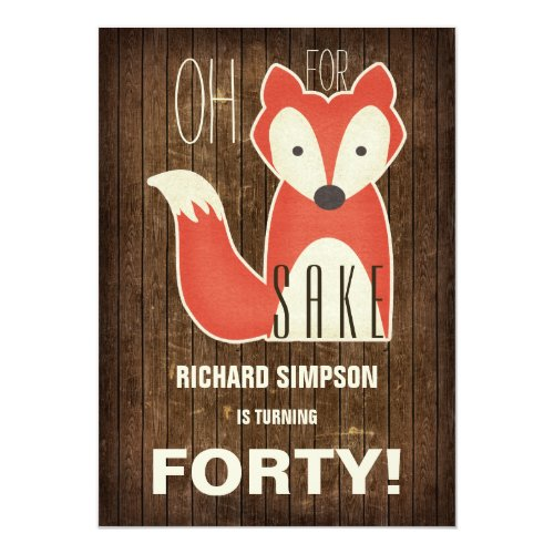 Oh, For Fox Sake Birthday Party Invitation