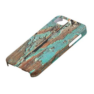 Old blue paint on wood iPhone 5 covers