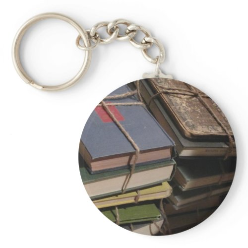 Old book stack keychain