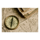 Old Compass Over Ancient Map Poster