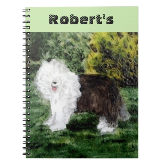 Old English Sheepdog Painting Notebook
