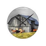 old horse barn round clocks