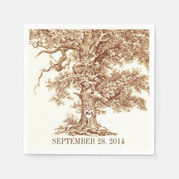 old oak tree - love tree paper napkins