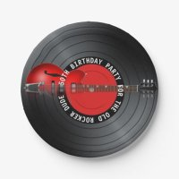 Old Rocker Dude Guitar Record 50th Birthday Party Paper ...