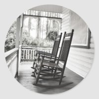 Old Rocking Chairs on Porch Classic Round Sticker