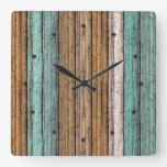 Old Vintage Weathered Wooden Planks Pattern Square Wall Clock