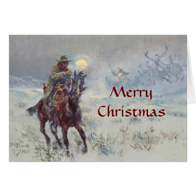 Old West Cowboy See's Santa Christmas Card Zazzle Com