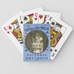Old West Custom Photo Personalized Blue Wood Poker Deck