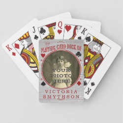 Old West Custom Photo Personalized Gray Wood Poker Deck