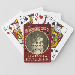 Old West Custom Photo Personalized Red Wood Poker Deck
