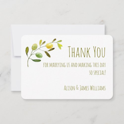 Olive Branch watercolor wedding thank you card