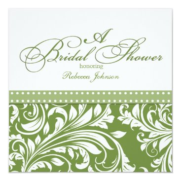 Olive Green and White floral Damask Bridal Shower Card