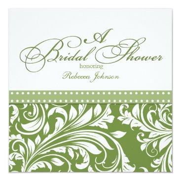 Olive Green and White floral Damask Bridal Shower Invitation