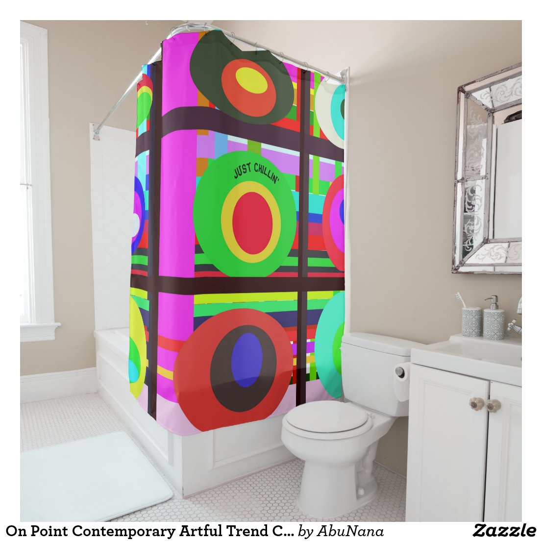 On Point Contemporary Artful Trend Circles Shower Curtain