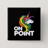 On Point retro rainbow unicorn Button