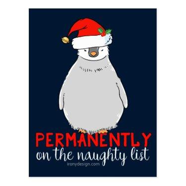 On The Naughty List Penguin Postcard