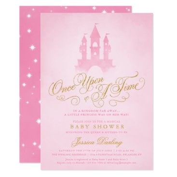 Once Upon A Time Fairytale Castle Girl Baby Shower Card