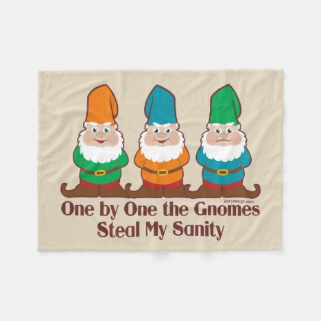 One By One The Gnomes Fleece Blanket